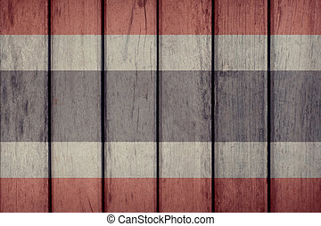 Thailand Flag Wooden Fence