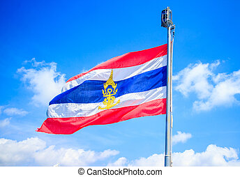 thailand flags in the blue sky