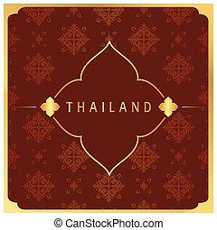 Thailand Flower Frame Thai design Red Background Vector...