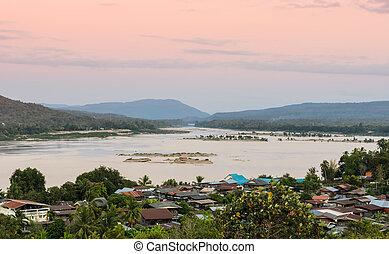 thailand, flussufer, dorf
