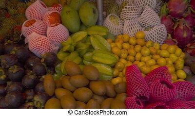 Thailand fresh fruits prepare - Colorful tropical fruits...