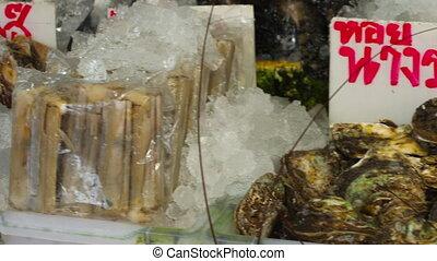 Thailand fresh seafood on street market - Shrimp, fish,...