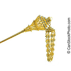 Thailand gold barrette isolated on white background