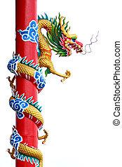 Thailand Golden dragon statue.