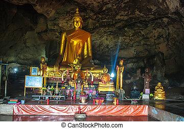 thailand, höhle, kanchanaburi, tempel, provinz