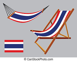thailand hammock and deck chair set against gray background,...