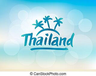 Thailand hand drawn lettering. Typographic design elements....