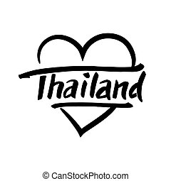 Thailand hand drawn lettering. Typographic design elements