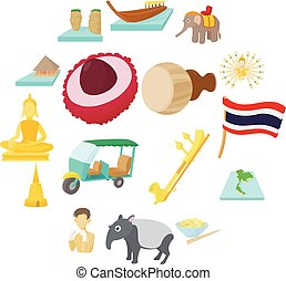 Thailand icons set, cartoon style