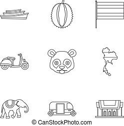 Thailand icons set, outline style
