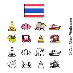 Thailand icons set. Traditional Thai national symbols. 2...