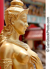 Thailand in mythic animal statues of Golden kinnaree. -...