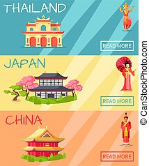 Thailand, Japan and China Types of Houses Banner