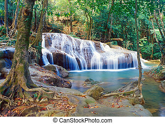 Thailand jungle waterfall - Panoramic view on famous...