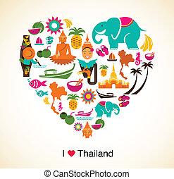 thailand, kärlek, -, hjärta, med, thai, ikonen, och,...