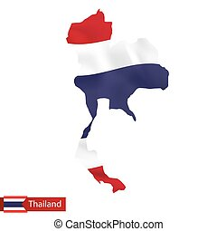 thailand, kaart, met, het watergolven dundoek, van, country.