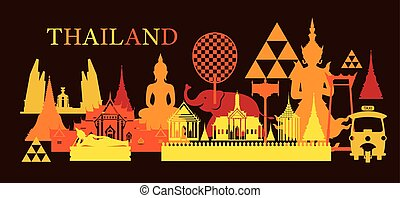 Thailand Landmark Colorful Shapes, Dark Background - Travel...