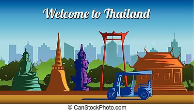 Thailand landmark multi color light and shadow style,vector...