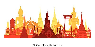 Thailand Landmark Skyline - Travel Attraction, Traditional...
