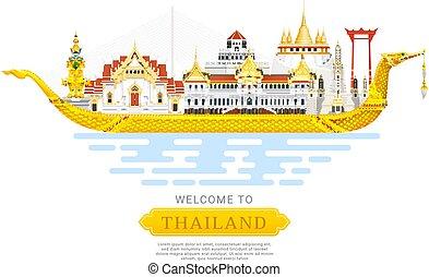 Thailand landmark travel background vector illustration