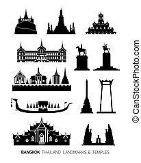 Thailand Landmarks Objects, Silhouette Set - Temples,...