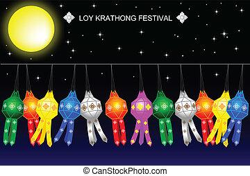 Thailand lanna lamp on Loy Krathong Festival