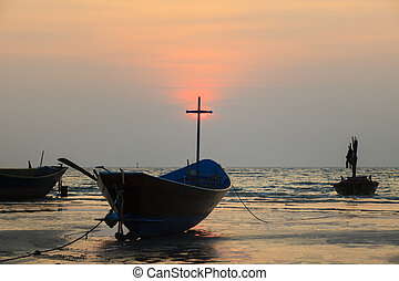 thailand local fishery boat and sunset sky