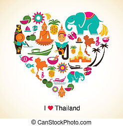 Thailand love - heart with thai icons and symbols - Thailand...