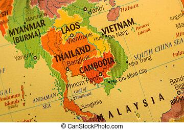 Close up shot of Thai land map on the globe