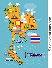 Thailand Map Detail Landmarks - Travel Attraction,...