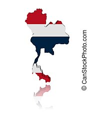 Thailand map flag 3d render with reflection illustration