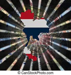 Thailand map flag on currency burst illustration