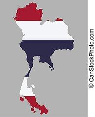 Thailand Map flag Vector illustration eps 10