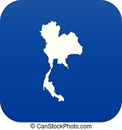 Thailand map icon digital blue