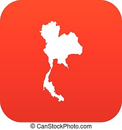 Thailand map icon digital red
