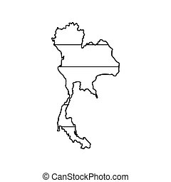 Thailand map icon, outline style