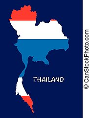 Thailand map with flag inside, thai