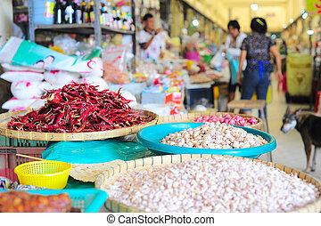 Thailand market - Food market in Thailand. Focus on a garlic
