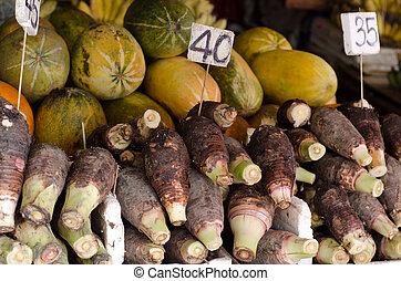 thailand, markt, alhier, taro