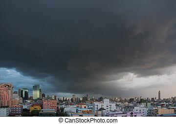 thailand., na, chmury, deszcz, miasto
