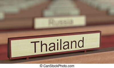 Thailand name sign among different countries plaques at...