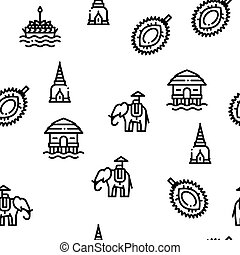 Thailand National Seamless Pattern Vector
