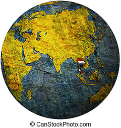 thailand on globe map