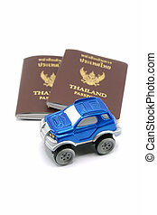 Thailand Passport and 4wd Car for Travel Concept.