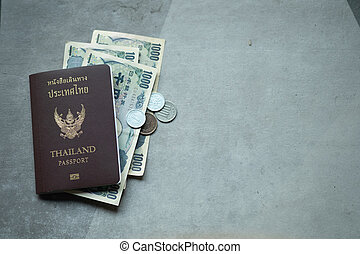 Thailand passport and money for travel in Japan
