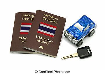 Thailand Passport, Car Key and Car Model for Travel or A.E.C. concept