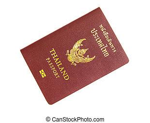 Thailand passport isolated on white background.