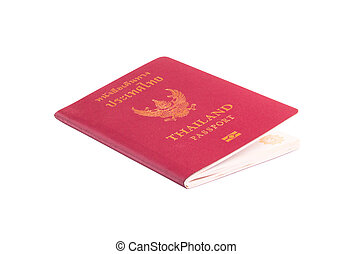Thailand passport isolated on white background with clipping path