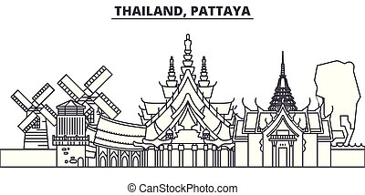 Thailand, Pattaya line skyline vector illustration. Thailand, Pattaya linear cityscape with famous landmarks, city sights, vector design landscape.