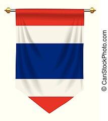 Thailand Pennant - Thailand flag or pennant isolated on...